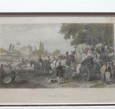 Steeple Chase France Paris 1840 Gravure originale sous Cadre