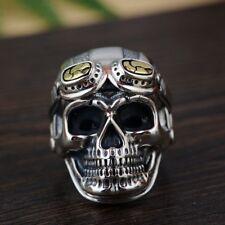925 sterling silver Retro Rocker pilot officer skull ring  Rings jewelry S1579
