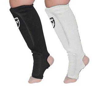 RingMaster Elastic Shin Instep Pads Leg Foot Pads Guard Karate MMA Thai Training