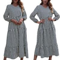 Ladies Long Sleeve V-Neck Tunic Kaftan Midi Dress Casual Loose Striped Dresses