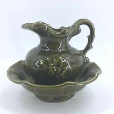 Vintage McCoy Olive Green Small Pitcher Bowl Set Grapevine Design Mid Century