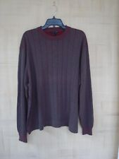 TULLIANO MENS SIZE XXL BROWN AND BURGUNDY STRIPED SWEATER
