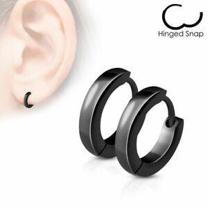 Stainless Steel Small Dome Hoop Huggie Earrings Pair 2.5 mm Wide 20 GA Men Women