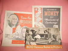 Vtg Advertising KNOW OUR PRESIDENTS,STORY OF MONEY,400 FAMOUS DATES IN HISTORY