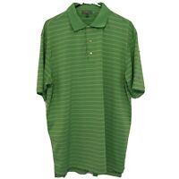 Peter Millar Summer Comfort Men's Short Sleeve Polo Shirt Green Stripe Sz Large