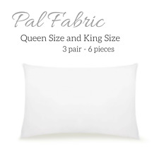 Pal Fabric Polyester Microfiber White Bed Sofa 3 Pair 6pieces Pillowcase Cover.
