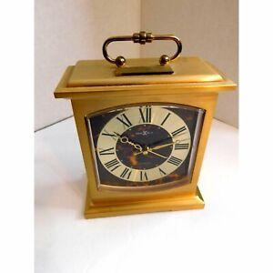 Howard Miller Brass Mantle Style Alarm Clock Desk Shelf VINTAGE