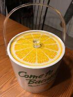 Bacardi Ice Bucket White With A Lemon Top Miami Florida - empty-no ice or liquid