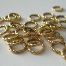 50 Closed 8mm Antique Gold Tone Jump Rings, 1.3 Thickness, Jewelry Findings