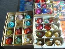 Vintage lot of 30 (mostly Glass) Christmas ornaments, indents, glitter, etc