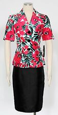 LE SUIT Deep Rose Multi Sz 16 Women's Skirt Suit $200 New