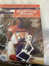 Bewitching Friends Plastic Canvas Kit Halloween Witch Doll Skeleton Needlepoint