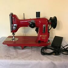 RED Pfaff 130 Sewing Machine  Electric Foot Pedal   Sews well.  Good condition