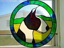 Stained Glass Dog - Bull Terrier - Brindle/White - 12 In. Circle
