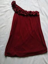 Studio Y Women's One Shoulder Top Embellished Size XS extra small Red Gold Roses