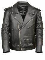 Event Biker Leather Men's Basic Motorcycle Jacket with Pockets Black  4X Large