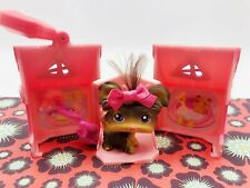 Littlest Pet Shop #398 Dog Brown Shi Tzu Yorki Purple Eye Real Hair Accessories