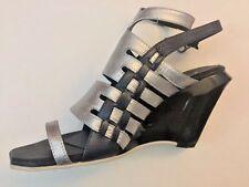 Women Sz 6-7 Silver Wedge Sandal DESIGNER HIROMI DRAGONFIELD Left 38 Right 37