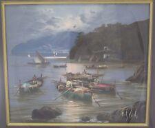 Mario GALANTI 1923-1998 dipinto Italia BAIA/PESCATORI BARCHE barche nel chiaro di luna