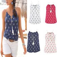 Women Sleeveless V Neck Vest T-Shirt Ladies Summer Beach Tank Casual Tops Blouse