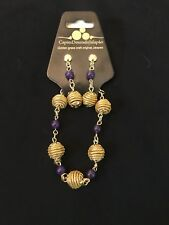Brazilian Golden Grass Earring and Bracelet with purple Set/Organic Jewlery/Capi