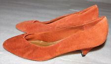 Ellemenno Womens Auburn Red Leather High Heel Shoes Closed Toe Medium Width 7