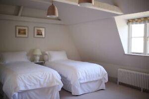 zip & link 2 single / super king bed inc. mattress, valance, duvets & 4 pillows