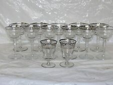 13 Vtg Silver Rim Striped Wine Champagne Cocktail Optic Paneled Glasses Stemware