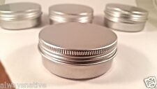 empty Aluminium Balm cosmetic Tin pot jar containers 2oz (15 CT) SCREW TOP