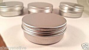 empty Aluminium Balm cosmetic Tin pot jar containers 2oz (15 CT) SCREW TOP