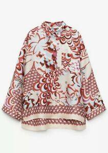 Zara printed Red Nude Shirt Blouse With Scarf S Small