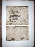 44 ~ OLYMPIA GREECE DESIGN PLAN TEMPLE HERA ZEUS ~ 1910 Architecture Art Print