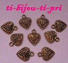 LOT de 10 PENDENTIFS DORE perles breloques COEURS HEART relief création bijoux