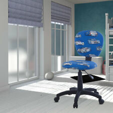 Children's swivel chair fabric blue racing cars vehicles boys height adjustable