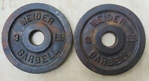 Rare Weider Standard Size Barbell Weights - Two 3 Lb Plates 3lb cast iron vtg