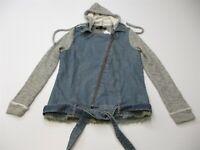 new TINSEL Women's Size XS Asymmetric Zip Heather Gray Blue Hoodie Jean Jacket