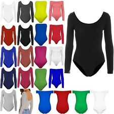 Womens Bodysuit Ladies Plain Long Sleeve Scoop Neck Jersey Stretchy Leotard Top