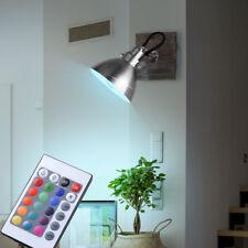 LED Holz Wandleuchte Strahler drehbar Wohnzimmer Dimmer RGB Fernbedienung EEK A