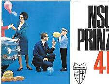 NSU PRINZ 4 AND 4L MODELS SALES BROCHURE EARLY 70s UK MARKET