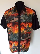 Mens Horror Zombie Apocolypse lounge diner shirt Gothic Psychobilly Blk Red Gry
