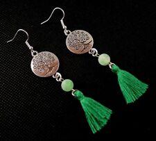 Tree of Life Green Cotton Tassel & Green Agate Gemstone Dangle Earrings #532