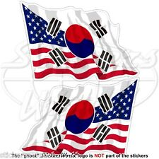"USA United States America-SOUTH KOREA Flying Flag S.Korean 75mm (3"") Stickers x2"