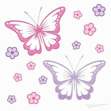 CHASING BUTTERFLIES BEDROOM WALL STICKERS girls flowers butterfly car decals