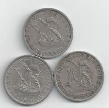 3 DIFFERENT 2 1/2 ESCUDO COINS w/ SHIPS from PORTUGAL (1963, 1964 & 1965)