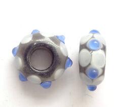 10 Azul Murano Cristal Cuentas 14x8mm agujero 5 mm para pulsera europea con dije