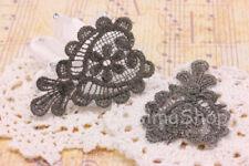 Coppia pizzi macramè PER creare orecchini grigio e nero con fili oro 7,5x5cm