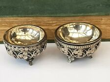 More details for antique-19th century indian silver x2 mite coin decorated cauldron salts-c1870's