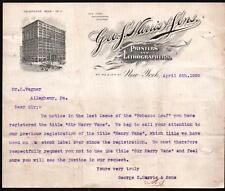 1899 Printers & Lithographers - Geo S Harris &  Sons - New York Letter Head Rare