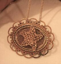 Handsome Loop Rim Textured Goldtne Raised Starfish Shell Pendant Necklace Pin