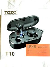 New listing Waterproof Bluetooth Wireless EarbudsTozo T10 with Charging Case Blue Free Ship!